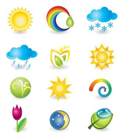 Set of design elements  Nature and weather Vector