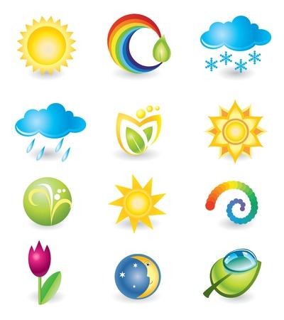 zon en maan: Set van design elementen Natuur en het weer