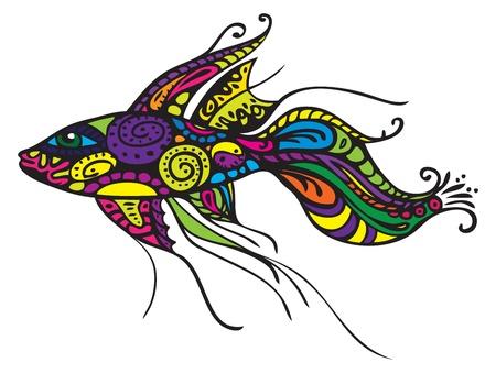 ornamental fish: Decorativa pesci - illustrazione vettoriale, elementi di design isolato su bianco