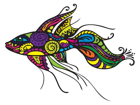 exotic fish: Decorative fish - vector illustration, isolated design elements on white Illustration