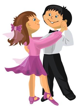 niños bailando: Ilustración del vector - caricatura chico joven y chica bailando