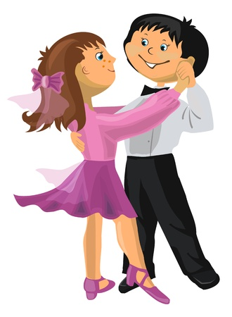 Vector illustration - cartoon young boy and girl dancing Vector