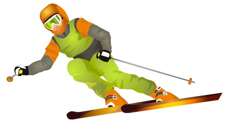 descent: Skier on the highway isolated on white background  vector illustration  Illustration