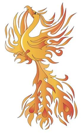 tatuaje de aves: M�tica ave f�nix ilustraci�n vectorial Vectores