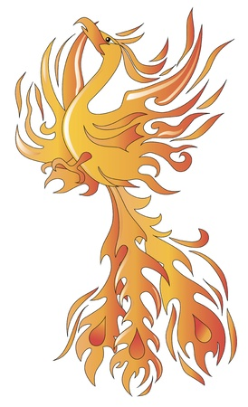ancient bird: Mythical phoenix bird vector illustration