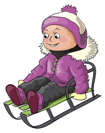 Winter illustratie voor kinderen outdoor activiteit - een klein meisje rijdt op een slee