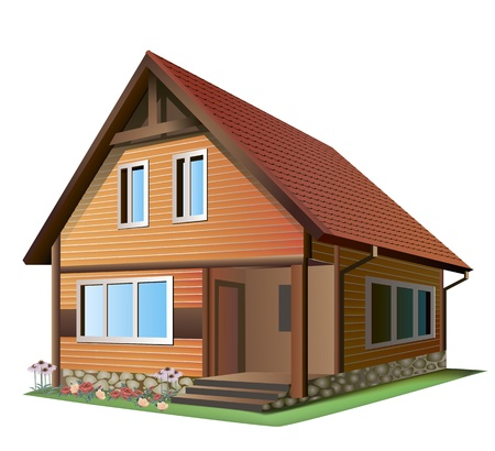 Illustration of small house  with tile roof on a white background