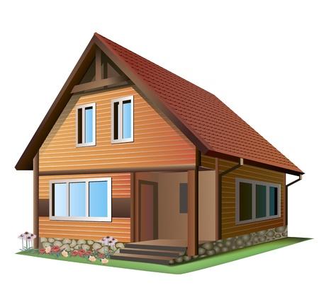 tile roof: Illustrazione della piccola casa con il tetto di tegole su uno sfondo bianco