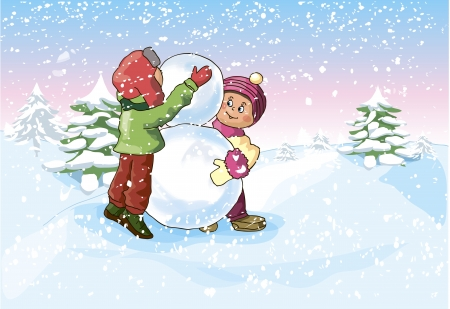 Illustration of a Boy and a Girl making a Snowman  矢量图像