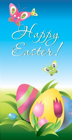 Colorful Easter eggs  in the grass on blue sky background  Vector