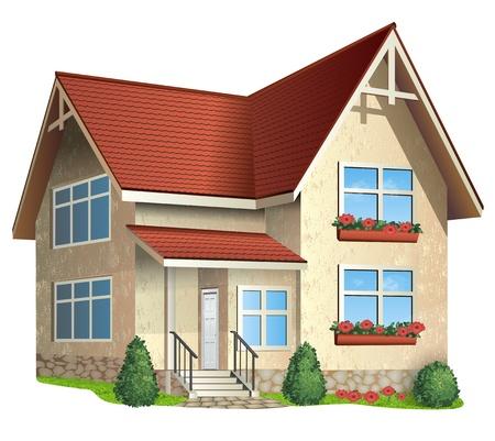 Illustration de la maison avec toit de tuiles sur un fond blanc