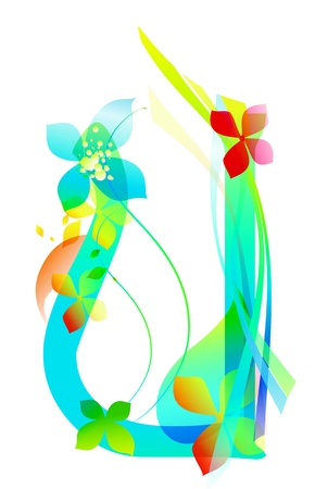 Decorative letter with flowers for design Vector