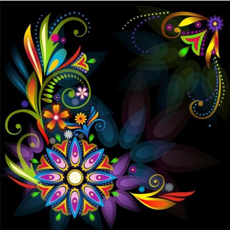 Floral frame on the black background
