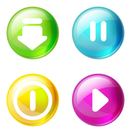 turn yellow: design elements - set of glossy buttons Illustration