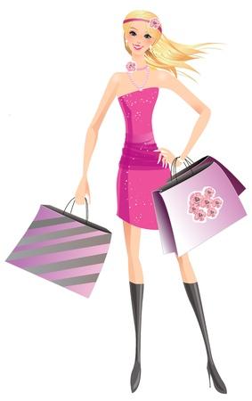 blonde hair cartoon: F�ashion shopping girl with the bags