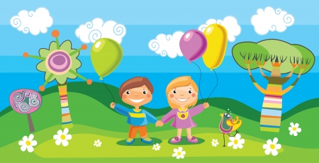 balloon woman: illustration of a boy and a girl with a balloons Illustration