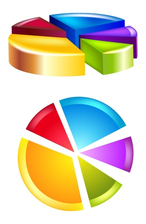 Two glossy pie  diagram for design Vector