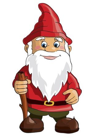 Cartoon gnome op een witte achtergrond