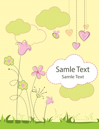 Beautiful  greeting card with flowers and bird Vector