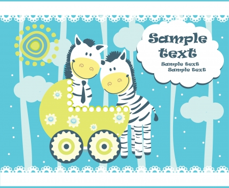 Baby arrival announcement card. Vector Vector