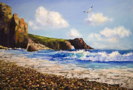 Oil painting on canvas , sea landscape with seagull photo