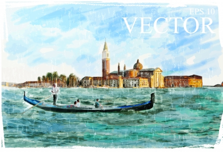 belfry: Venice, Italy - Piazza San Marco, watercolor style Illustration