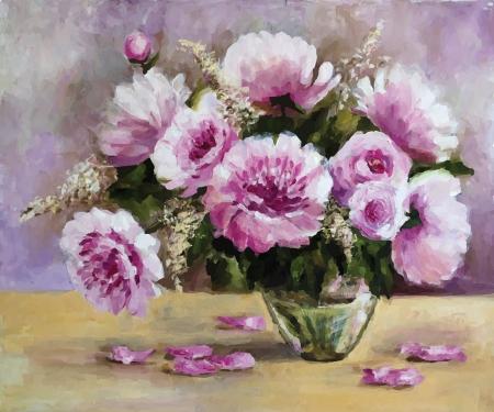 mazzo di fiori: Vector Foto pitture a olio su tela: un bouquet di peonie in un vaso di vetro