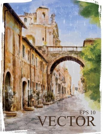 aquarel: Illustration of city street. Watercolor style.