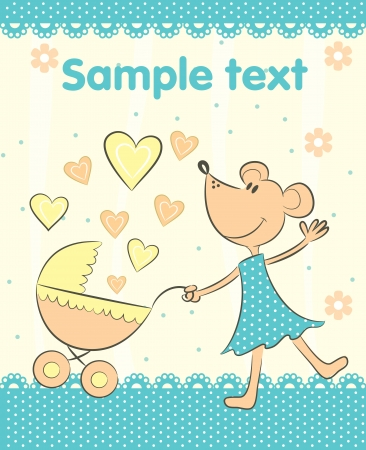 bambino: Baby arrival announcement card. Vector