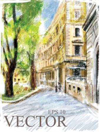 antigua grecia: Ilustración de la calle de la ciudad. Estilo de la acuarela.