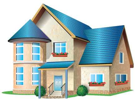 Illustration of %u0430 house  with tile roof on a white background