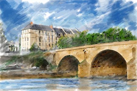 Illustration of city bridge. Watercolor style.