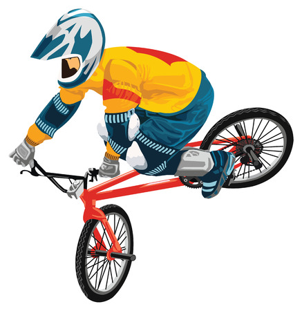 bmx bike: Vector young bicycle rider on a white background