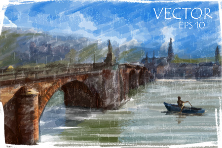 Illustration of city bridge. Watercolor style.  Vector