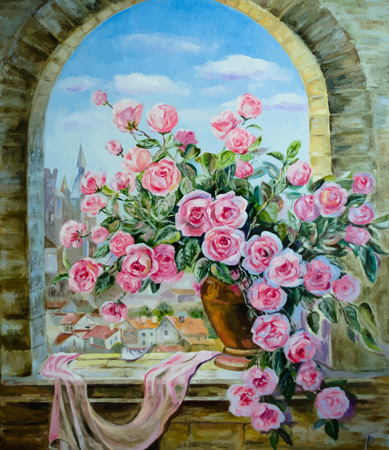Vector picture oil paints on a canvas: a bouquet of peonies at the window