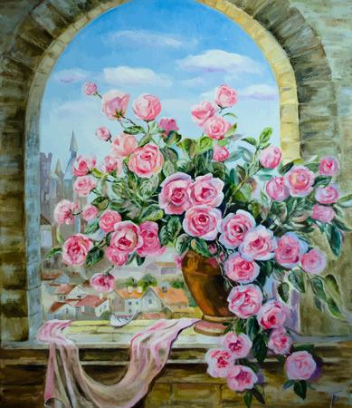 Vektor-Bild von Ölfarben auf eine Leinwand: ein Bouquet von Pfingstrosen am Fenster Standard-Bild - 27713333