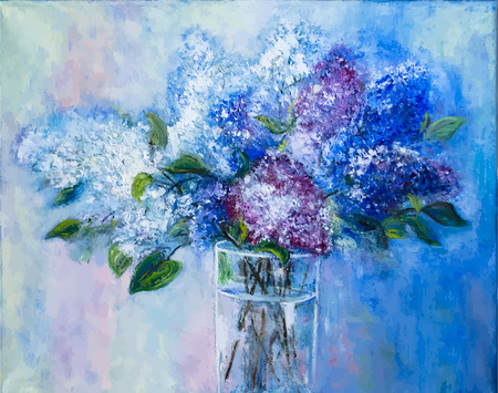 Vector picture oil paints on a canvas: a bouquet of lilac in a glass vase Vector