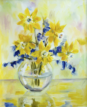 Vector picture oil paints on a canvas: a bouquet of daffodils in a glass vase Vector