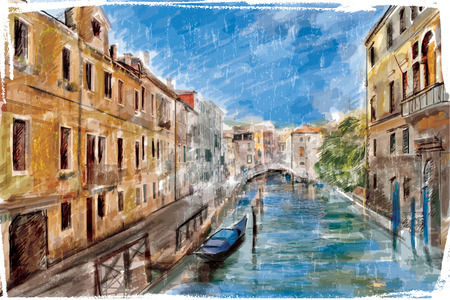 italy landscape: Venice, Italy - watercolor style Illustration