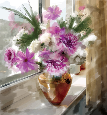 Vector picture watercolor paints: a bouquet of peonies in a glass vase Vector