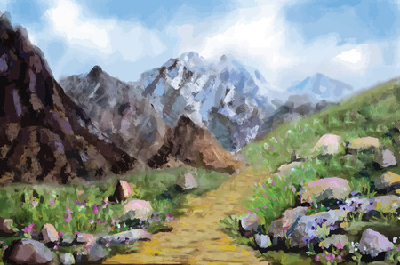 Landscape with meadow and mountains on a cloudy sky background