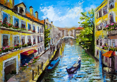Venetië, Italië - olieverfschilderij stijl