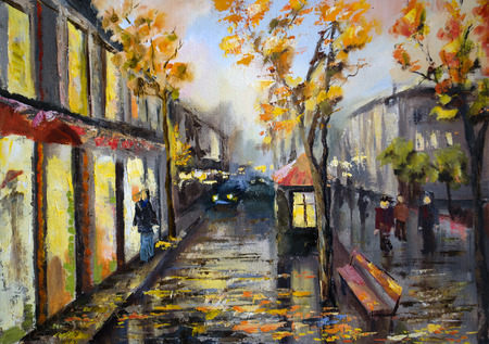 Illustration of city street. Autumn