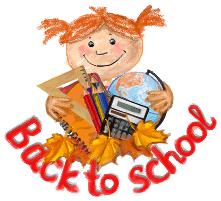 supplies: Happy girl with school supplies Illustration