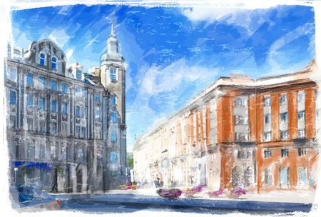 Illustration of city street. Watercolor style.  Vector