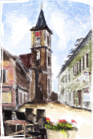 aquarel: Illustration of city Street. Watercolor style.