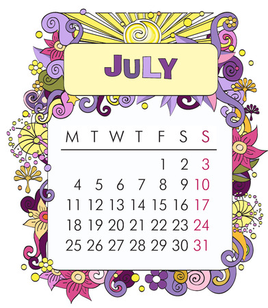 number cartoon: Beautiful vector decorative Frame for calendar - July