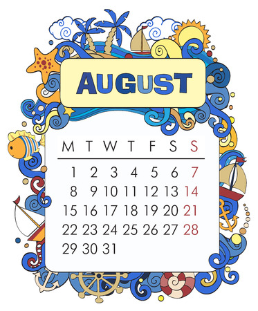 august: Beautiful vector decorative Frame for calendar - August