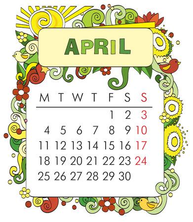 april beautiful: Beautiful vector decorative Frame for calendar - April Illustration