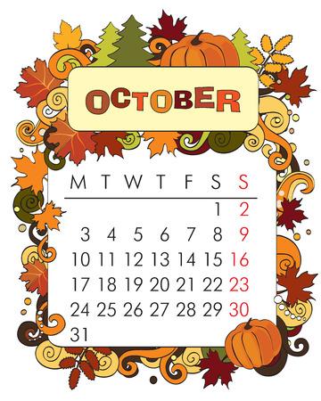 kalender oktober: Mooie vector decoratieve Frame voor agenda - oktober Stock Illustratie